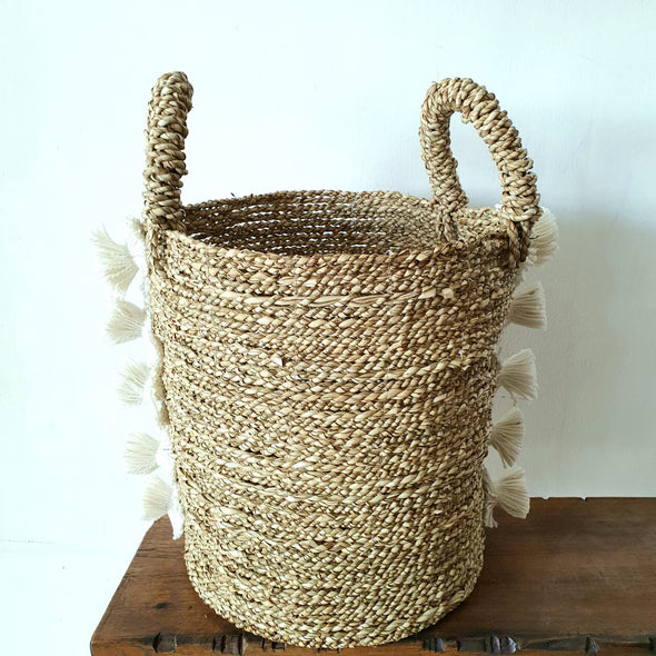 Natural Straw Grass With White Pompoms Basket Set