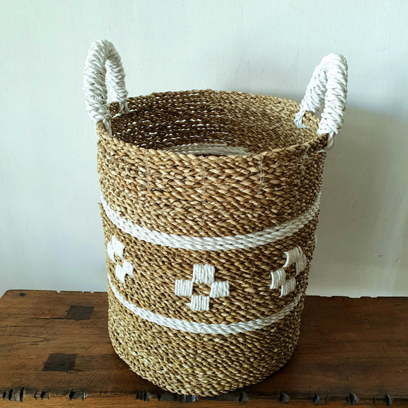 Straw Grass, Raffia & Macrame Motif Basket Set 3