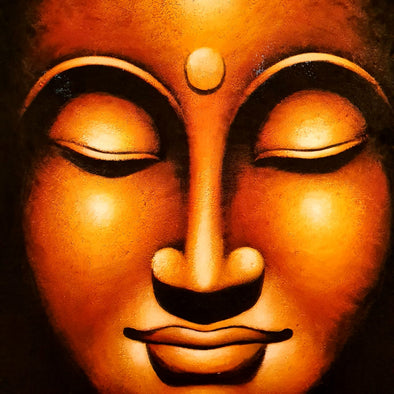 Golden Buddha Head Painting
