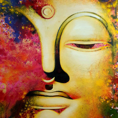 Yellow & Red Buddha Head Painting