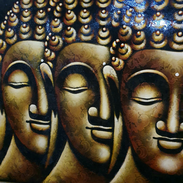 Long Meditating Buddha Heads Painting