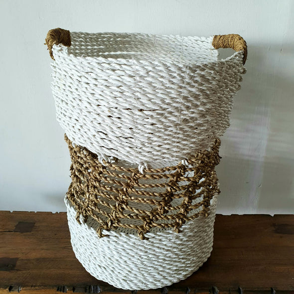 Woven Straw Grass And White Raffia Basket Set