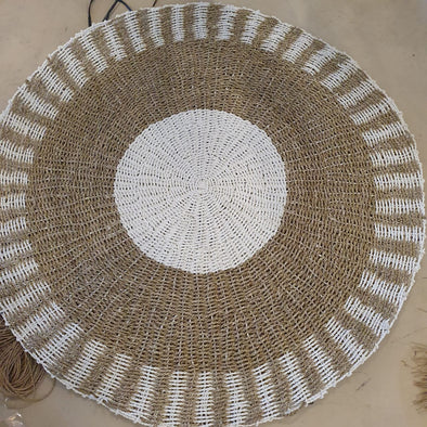 Large Natural Straw Grass And White Raffia Floor Mat
