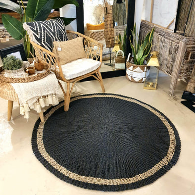 Large Round Black Raffia & Natural Straw Grass Floor Mats
