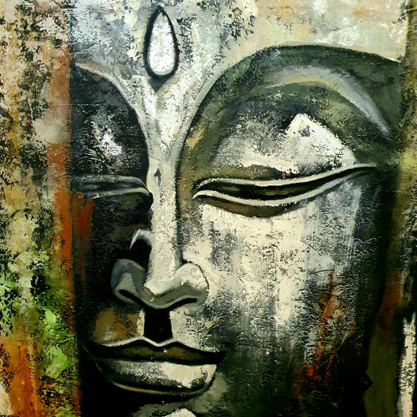 Grey & White Buddha Head Painting