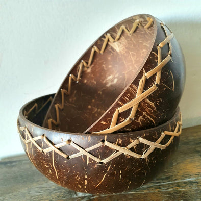 Natural Coconut Bowl With Woven Bamboo Pattern