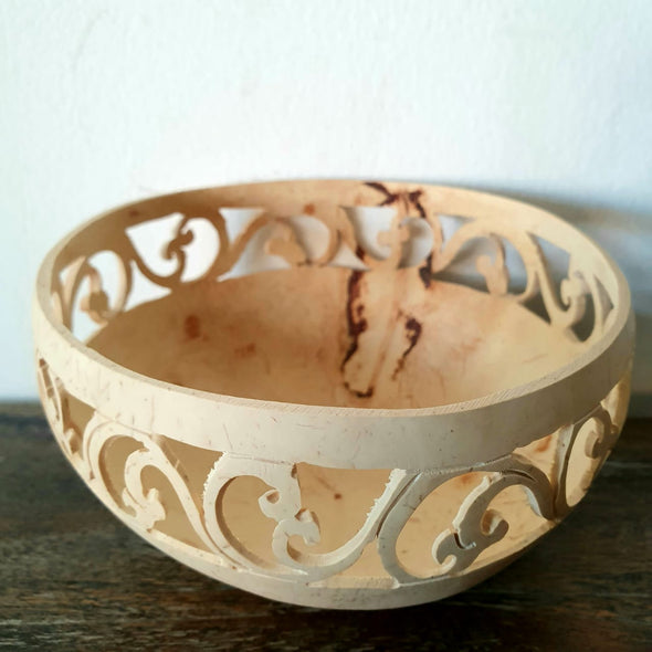 Carved Coconut Bowl With Vine Motif