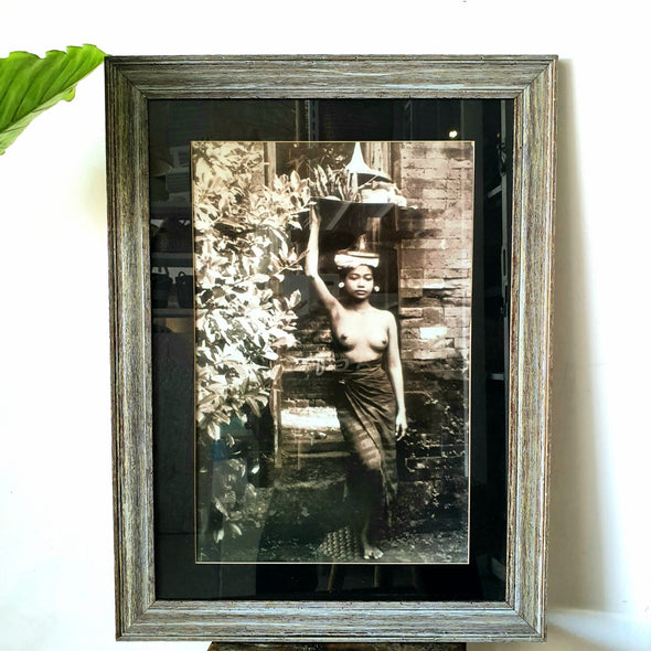 Framed Antique Balinese Woman Picture