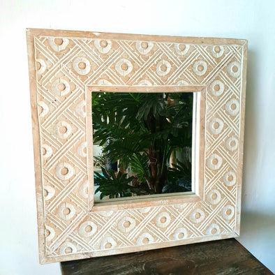 Carved Batik Pattern Square Wood Mirror