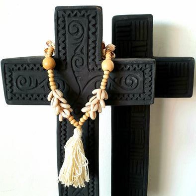 Black Carved Wooden Cross On Stand