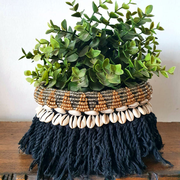 Macrame Knitted Pot Holder With Beads & Shells