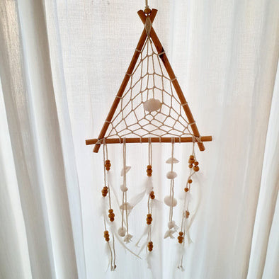 Triangular Bamboo Dream Catcher With Shells
