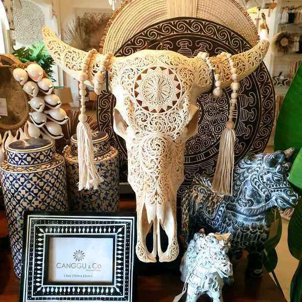 Large White Carved Buffalo Skull Head With Stand