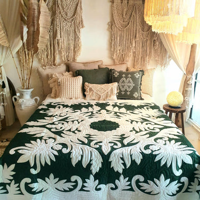 Dark Green Bed Cover With Stitched Palm Leaf Motif