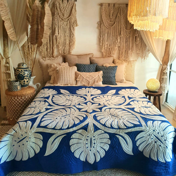 Bright Blue Bed Cover With Stitched Tropical Leaf Motif