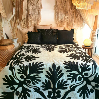 White & Black Bed Cover With Stitched Tropical Leaf Motif
