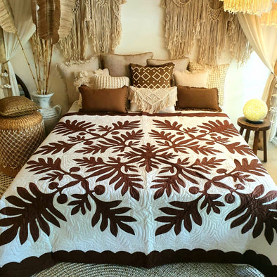 White & Brown Bed Cover With Stitched Tropical Leaf Motif