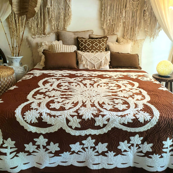 White & Brown Bed Cover With Stitched Tropical Flower Motif