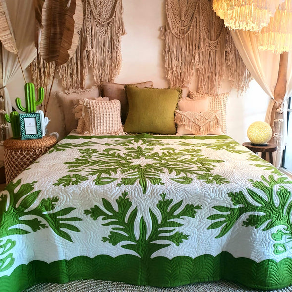 Jungle Green & White Bed Cover With Stitched Leaf Motif