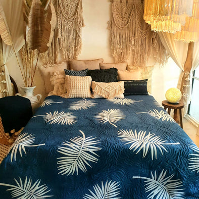 Dark Blue Tropical Bed Cover With Leaf Motif