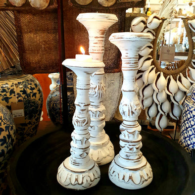 Wooden Italian Pillar Style Candle Holders