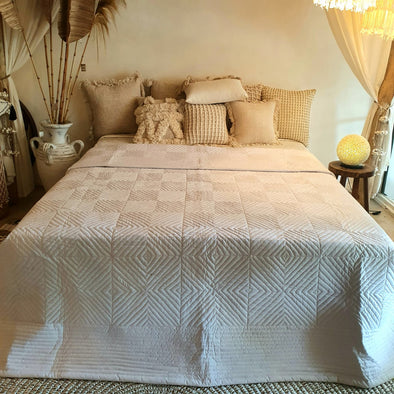 White Plain Bed Cover With Stitched Diamond Pattern