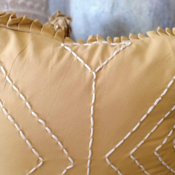 Brown Colored Cotton Linen Cushions With Ruffle
