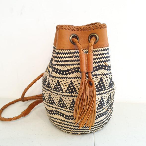 Natural Woven Bamboo Shoulder Bag With Ethnic Motif