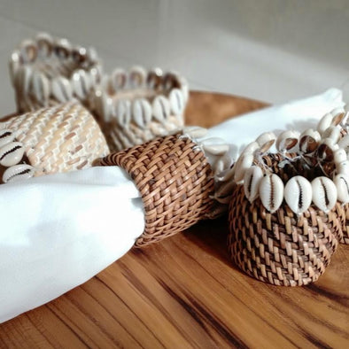 Rattan Napkin Rings With Cowrie Shells