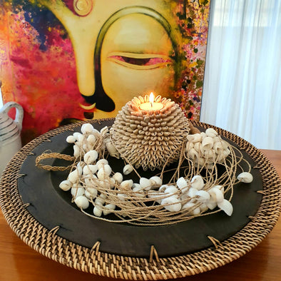 Wood And Rattan Plate Decor