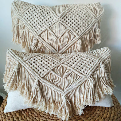 Woven Macrame & Cotton Linen Cushion with Fringe