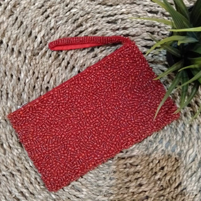 Red & Grey Woven Beaded Clutch