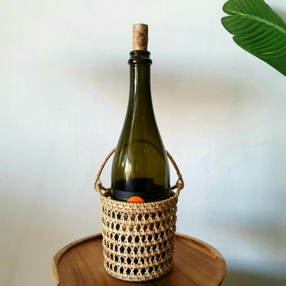 Natural Rattan Bottle Holder With Carrier Handle