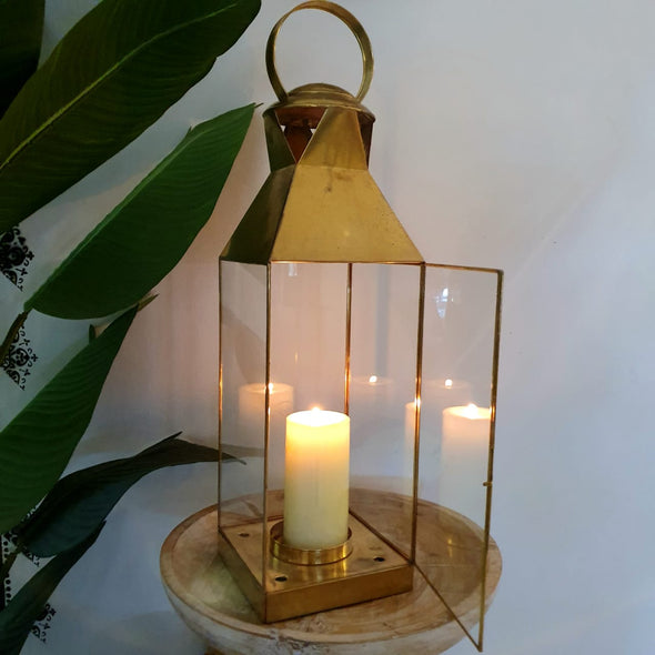 Large Golden Brass Lantern Style Candle Holder