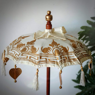 White Balinese Umbrella with Gold Motif