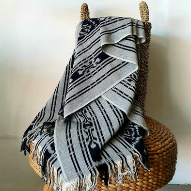 Sundanese Motif Grey & Black Throw