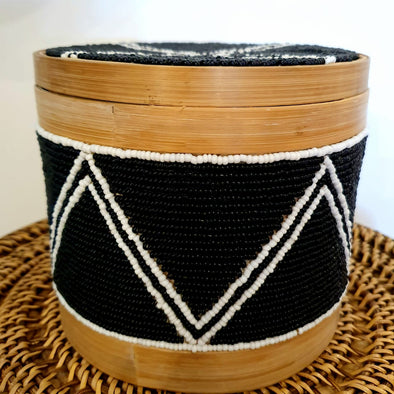 Bamboo Boxes With Black Beads