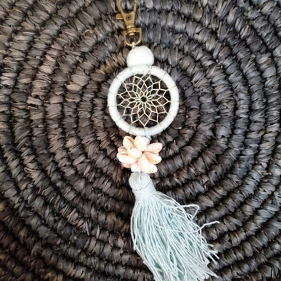Small Shell and Tassel Macrame Dreamcatcher Keychain