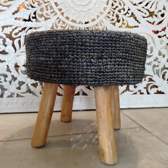 Large Modern Woven Black Soft Raffia Stool