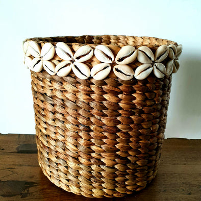 Water Hyacinth With Cowrie Shell Basket Set