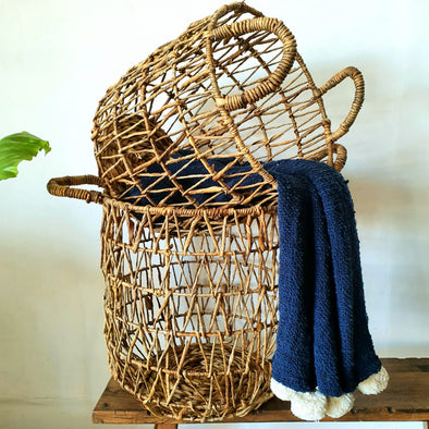 Tall Woven Round Banana Leaf Basket Set
