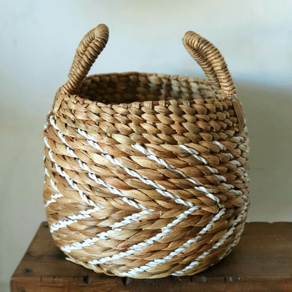 Round Banana Leaf & Raffia Basket Set