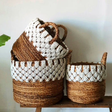 Natural Banana Leaf & White Macrame Basket Set
