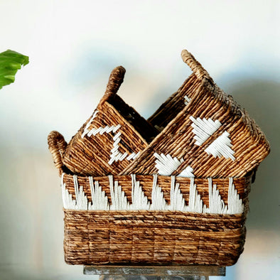 Banana Leaf & Macrame Rectangle Shaped Basket Sets
