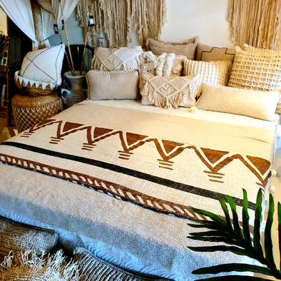 Boho Bed Runner With Pom Poms