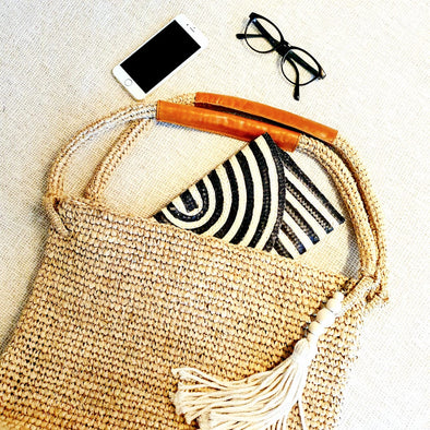 Natural Woven Straw Grass Bag with Leather Handles