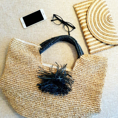 Natural Woven Straw Grass Bag with Black Handles