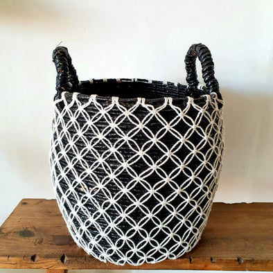 Black Straw Grass Basket Set With Woven Cotton Outer