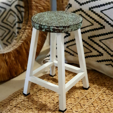 Rustic Carved Tribal Pattern Kitchen Stool