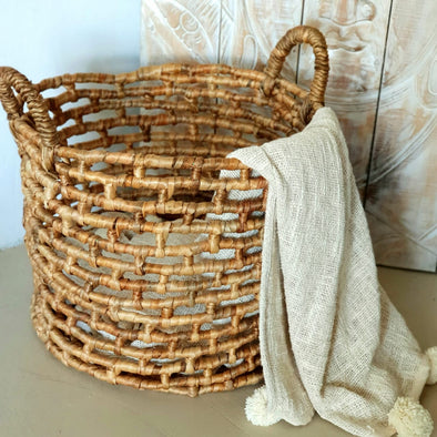Large Round Water Hyacinth Basket